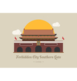 Forbidden City Southern Gate china vector image