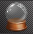snow glass ball highlight wooden stand 3d vector image