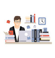 young busy businessman character sitting at the vector image