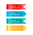 -15 off ribbons collection on vector image