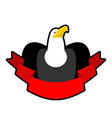 Eagle and tape Red ribbon and head of bald eagle vector image