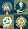 Hand holding Recycle symbol symbol on the vector image