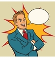Successful retro businessman on a comic strip vector image