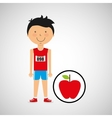 cartoon boy athlete with flat apple vector image
