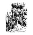 simeiz crimea russia old hand drawn landscape vector image