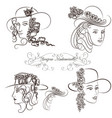 hand drawn sketched female portraits vector image