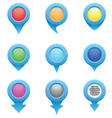 Set of blue circle pointers in the colors of the r vector image