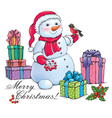 Snowman with Christmas vector image vector image