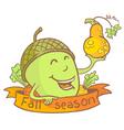 Cute acorn vector image