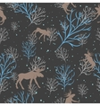 Forest deer and snow tree seamless pattern vector image vector image