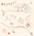 Mermaid Narwhal and Seashells Drawing Set vector image vector image