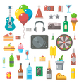 Flat design of party items set vector image