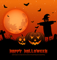 Halloween background with silhouettes vector image