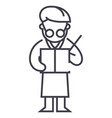 scientist writing report line icon sign vector image