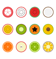 Fruit icon set flat design slice half vector image