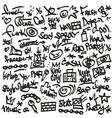 raphip hop symbols - doodles set vector image
