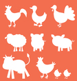 Farm animals silhouettes vector image