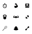fitness 9 icons set vector image