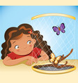 girl and butterflies vector image