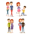 Happy young family couple set vector image