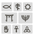 monochrome icons with symbols of religion vector image