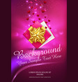 pink gift box with gold bow on a vector image