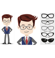 Set cartoon businessman in trendy square light vector image