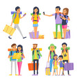 tourist group of happy people goes to vacation vector image