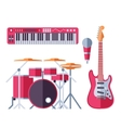 musical instruments flat icons for music vector image