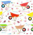 seamless texture with vintage garden wheelbarrows vector image
