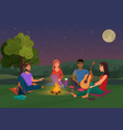 group of friends sitting vector image