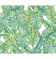 Exotic leaves rainforest Seamless hand drawn vector image vector image
