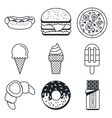 Black lineart icon set Fast food and sweets vector image