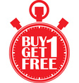 Buy 1 get 1 free red stopwatch vector image