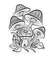 Hand drawn doodle outline mushrooms vector image