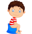 cartoon boy sitting on the potty vector image
