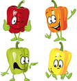 Colored paprika pepper cartoon isolated on a white vector image