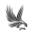 flying eagle spread out its feather black eagle vector image