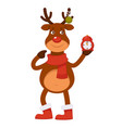 polar deer in warm scarf and boots holds alarm vector image