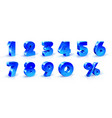 set of blue numbers 1 2 3 4 5 6 7 8 9 0 vector image