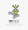 simple logo for farm on the green hills vector image