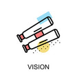 vision icon and binocular on white background vector image