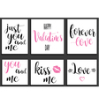 postcards romantic set valentines day lettering vector image