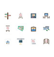 exhibition places flat color icons set vector image