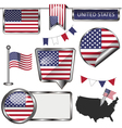 Glossy icons with American flag vector image vector image