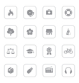 gray web icon set 6 with rounded rectangle frame vector image