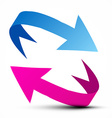 Arrows - Blue and Pink Arrow Isolated on White vector image vector image