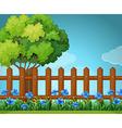 Scene with wooden fence in garden vector image vector image