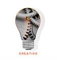 Conceptual icon light bulb inside metal gear vector image