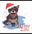 dog wearing santa hat happy new 2018 year concept vector image